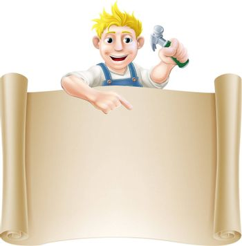 A carpenter or builder holding a claw hammer and peeking over a scroll banner and pointing