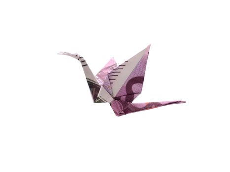 Origami bird made of five hundred banknotes