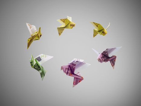 origami birds of euro money fly out