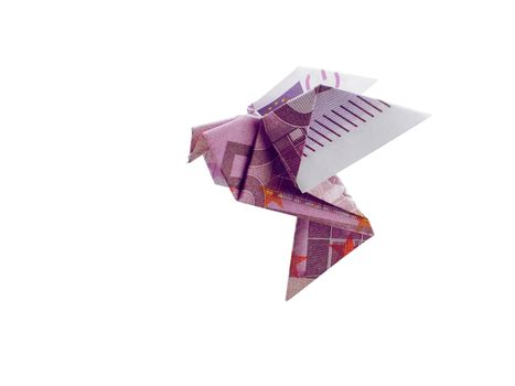 origami birds from 500 euro banknotes