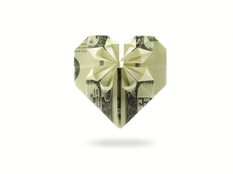 origami heart of hundred dollar banknote