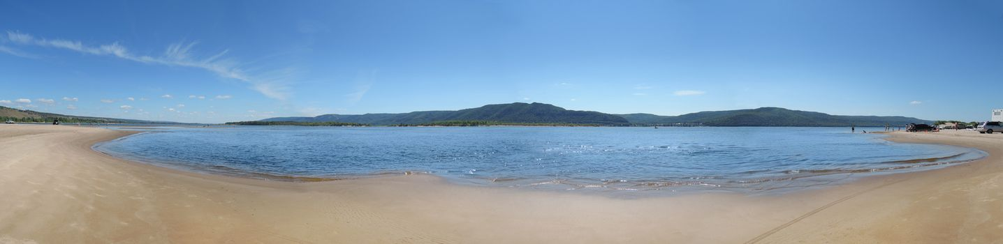panorama of the beach on the shores of the Volga River