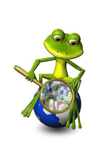 illustration frog on a globe with a magnifying glass
