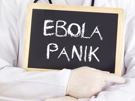 Doctor shows information: Ebola panic in german language