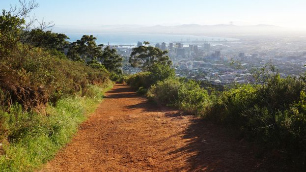 Hiking trail and view at Cape Town, South Africa