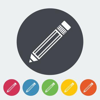 Pencil. Single flat icon on the circle. Vector illustration.