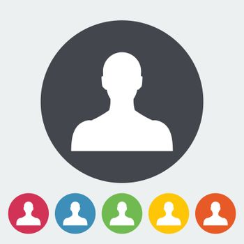 Person. Single flat icon on the circle. Vector illustration.