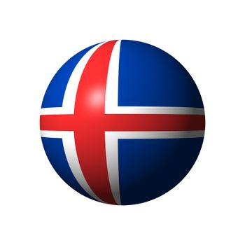 Sphere with flag of Iceland nation