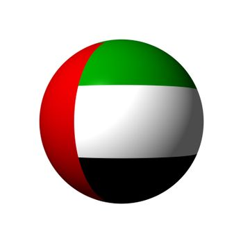 Sphere with official flag of United Arab Emirates