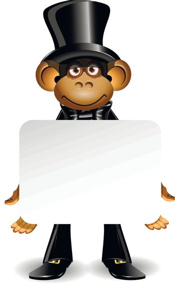 illustration monkey in a top hat with white background