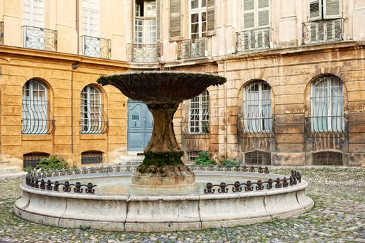 Old fountain in Aix en Provence, France