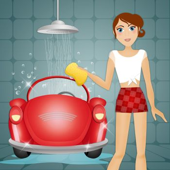 illustration of Woman washing her car
