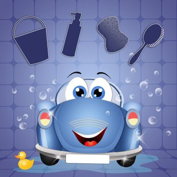 illustration of Funny car at car wash