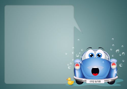 illustration of a funny car at car washing