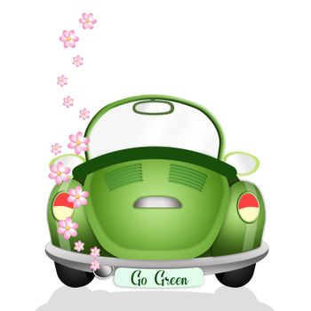 illustration of Ecological car with flowers