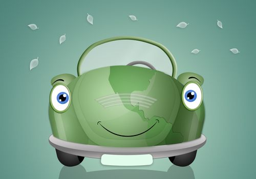 Illustration of ecological car for respect the planet