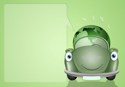 Ecological green car with earth for environment background