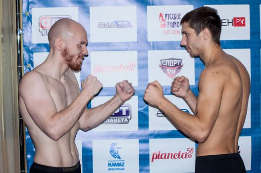 ORENBURG, ORENBURG region, RUSSIA, 17 October, 2014 year. Scythian gold-international professional tournament in MMA. Face to face the fighters mixed martial arts