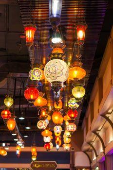 Colourful mosaic lanterns
