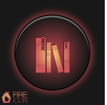 the spines of books. icon symbol of a science and literature