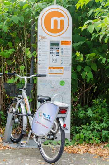 Mülheim Ruhr, Nrw, Germany - September 12, 2014: Bicycle Rental Station in Mülheim an der Ruhr. The stations are located in many cities.