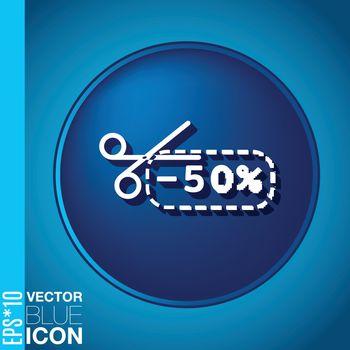 discount coupon with scissors. symbol icon discounts on merchandise