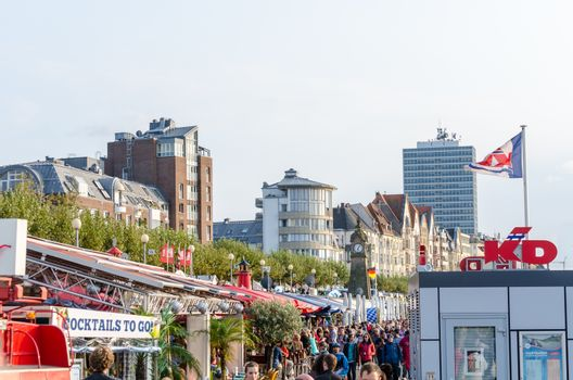 Dusseldorf Altstadt, Nrw, Germany - September 21, 2014: Rhine River Promenade in Dusseldorf Atlstadt.Die shore promenade in the old town of Düsseldorf designed by architects Niklaus Fritschi is one of the most beautiful.