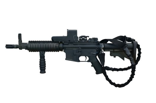 Canadian military machine gun C8 CQB 5,56 mm with holographic weapon sight. Isolated with path on white background.