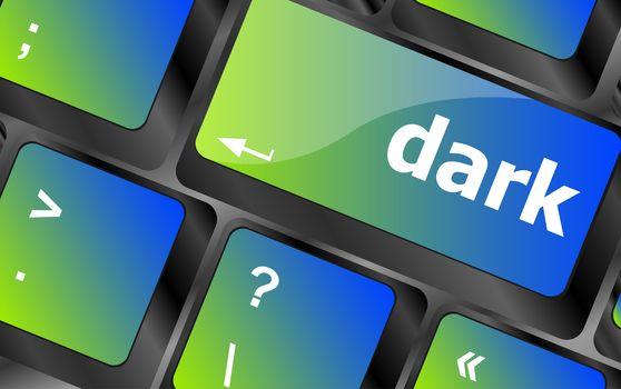 dark word on keyboard key, notebook computer button