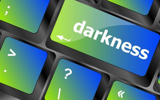 darkness word on keyboard key, notebook computer button