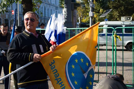 Moscow, Russia - September 21, 2014. Russian politician Konstantin Borovoi Peace March in Moscow against war with Ukraine