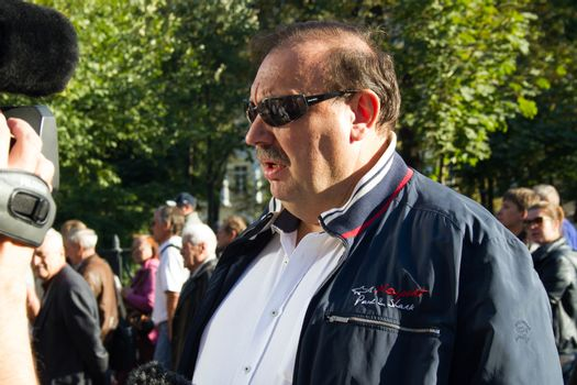Moscow, Russia - September 21, 2014. Politician Gennady Gudkov Peace March in Moscow against war with Ukraine