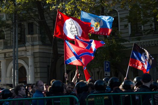 Moscow, Russia - September 21, 2014. Flags of the opponents of the peace March Peace March in Moscow against war with Ukraine