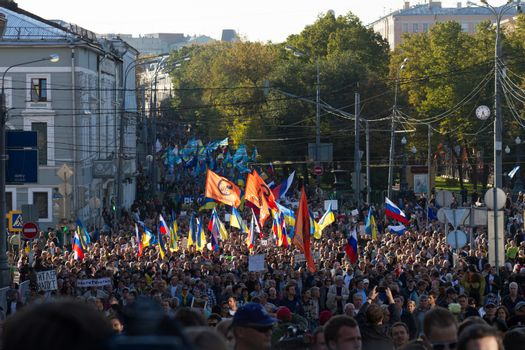 Moscow, Russia - September 21, 2014 Peace March against war with Ukraine