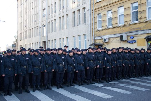 Moscow, Russia - September 21, 2014. The police March for peace Peace March against war with Ukraine