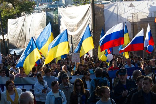 Moscow, Russia - September 21, 2014. Peace March against war with Ukraine