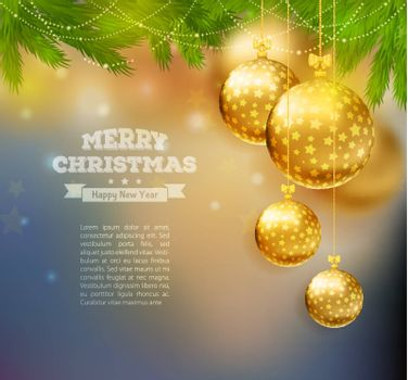 Vector illustration of Christmas balls on wooden background