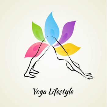 Vector illustration of Beautiful woman doing yoga