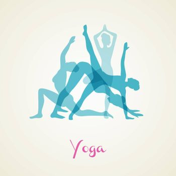 Vector illustration of Yoga poses silhouette set