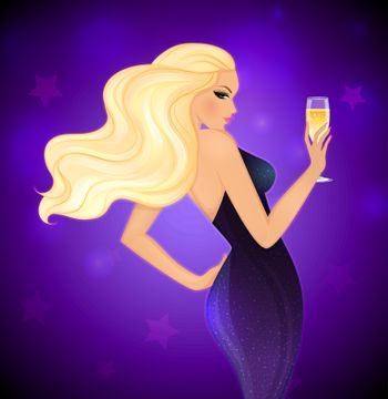 Vector illustration of Elegance blond woman with champagne
