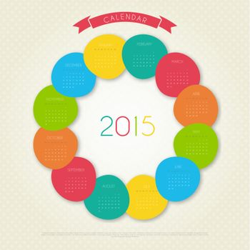 Vector illustration of Calendar for 2015 year