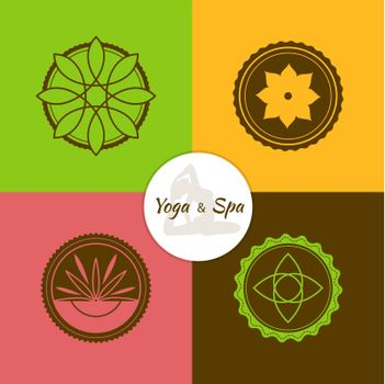 Vector illustration of Spa and yoga lables set