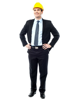 Engineer posing with hands on waist