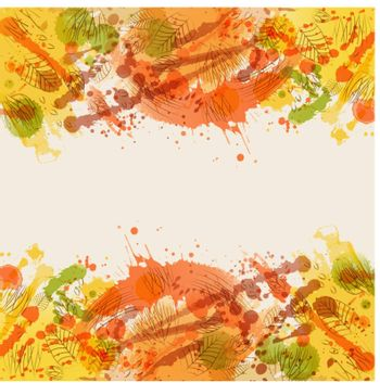 Beautiful background with stain and contours leaves. Watercolor effect. Colorful vector illustration.