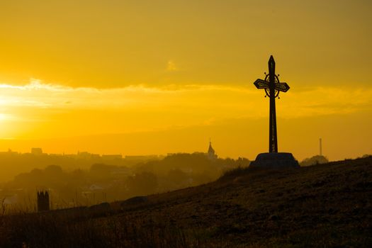 Cross on the Rock in the Ancient City of Kamyanets-Podilsky