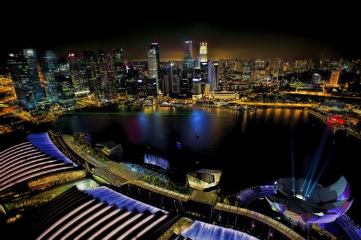 View of Singapore city skyline at night