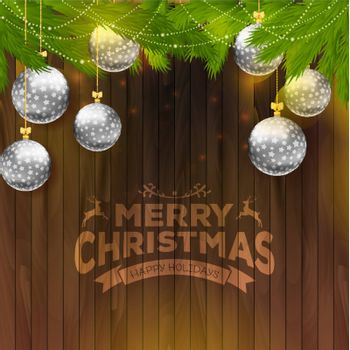 Vector illustration of Christmas balls on wooden background