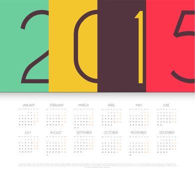 Vector illustration of Calendar for 2015 year