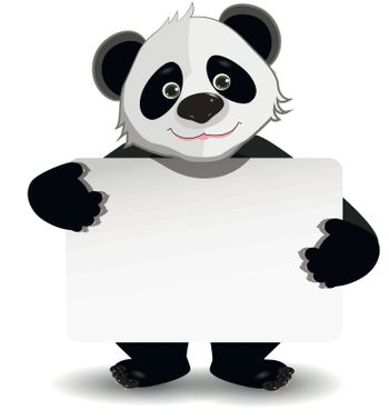 illustration cute fat panda with white background