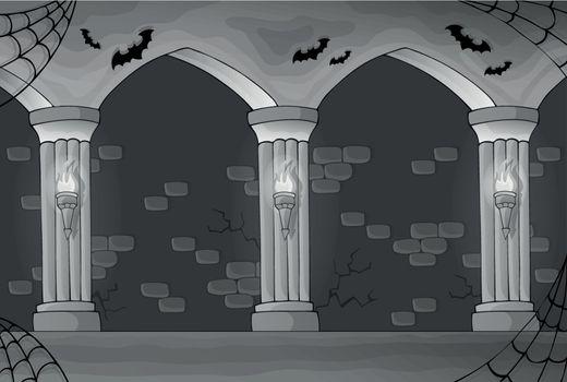 Black and white haunted interior